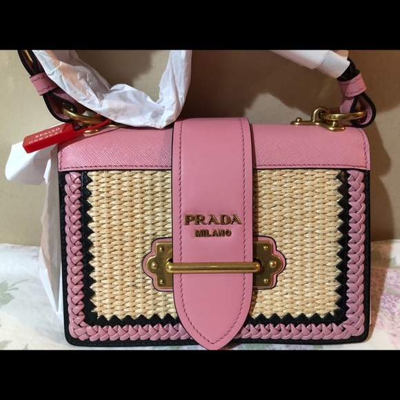2e390b7b429f Prada Cahier in pink straw and leather